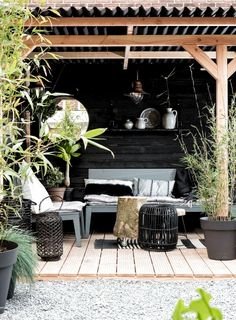 Another beautiful pergola with cosy seating area, decking and plants Outdoor Rooms, Outdoor Dining, Outdoor Gardens, Outdoor Furniture Sets, Outdoor Decor, Outdoor Seating, Porches, Patio Interior, Outside Living