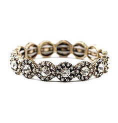 Songbirds - Classic stretch bangle bracelet with silver circular rhinestones