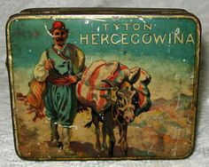 antique tobbaco cans | ... -Vintage-Antique-TYTON-HERCEGOWINA-Bosnia-Tobacco-Tin-Litho-Can