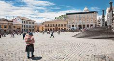 Plaza de San Francisco looking toward El Panecillo, Quito, Ecuador
