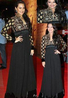 $155.40 Sonakshi Sinha In Black Faux Georgette Bollywood Salwar Kameez 16120