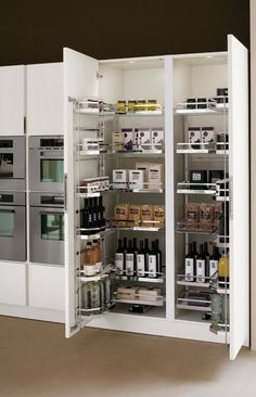 Elegant Modern Kitchen Pantry Design With White Paint Door Also Wooden Floor Kitche Interior Decoration Ideas Modern Kitchen Pantry Design in Various Minimalist Designs and Colors Kitchen design Kitchen Pantry Design, Diy Kitchen Storage, Modern Kitchen Cabinets, Modern Kitchen Design, Home Decor Kitchen, Kitchen Furniture, Interior Design Living Room, Home Kitchens, Kitchen Cupboard