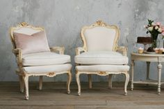 Vintage Shabby Cream Gilt Pair Louis XV French Style Upholstered Armchairs