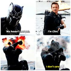 Hawkeye and Black Panther in Captain America: Civil War Marvel Dc Comics, Marvel Heroes, Marvel Avengers, Marvel Funny, Dc Movies, Marvel Movies, Captain America Civil War, Jeremy Renner, Marvel Cinematic Universe