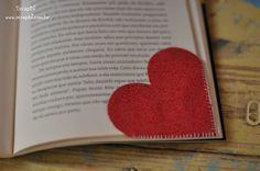 Marca páginas - Corações de tecido
