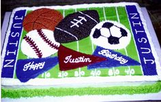 All Sports Cake - Half Chocolate/Half Classic white with buttercream icing