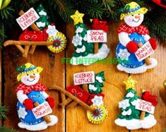 Bucilla Felt Ornaments Applique Kit Snow Garden Set of 6 Christmas Snowman 86558 for sale online Christmas Stocking Kits, Felt Christmas Stockings, Felt Christmas Ornaments, Christmas Holidays, Christmas Crafts, Garden Ornaments, Swedish Christmas, Ornaments Design, Felt Applique