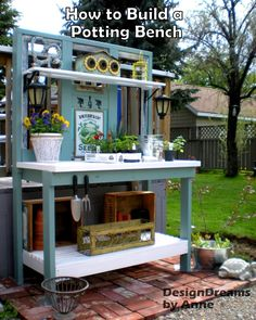 Potting bench or outdoor buffet for entertaining. DIY tutorial.