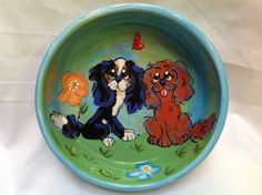 Hand Painted / Ceramic Dog Bowl / Dog Pottery / Whimsical / King Charles Cavalier / Debby Carman / Faux Paw Productions by FauxPawProductions on Etsy
