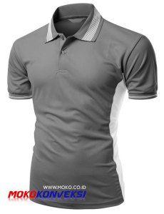 model kaos berkerah polo shirt casual warna abu abu