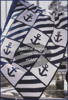 Nautical Anchor Afghan Crochet Pattern ~ Intarsia Technique Used~ Sailing Anchor Afghan To Crochet Available- DurhamDeals – Stricken – Home crafts Crochet Afghans, C2c Crochet, Manta Crochet, Baby Blanket Crochet, Easy Crochet, Crochet Stitches, Crochet Hooks, Crochet Blankets, Chunky Crochet