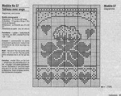 angelo filet quadretto | Hobby lavori femminili - ricamo - uncinetto - maglia