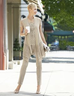 Love mine - Chico's Layered Lana Cardigan, Lillian Lace Tank and Platinum Jegging. Chicos Fashion, 60 Fashion, Over 50 Womens Fashion, Fashion Moda, Fashion Over 50, Fashion Brands, Fashion Looks, Fashion Outfits, Modest Summer Outfits