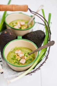 Grilled avocado & cucumber cold soup