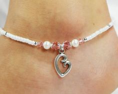 Anklet, Ankle Bracelet, Heart Mother Child Baby Charm, Light Pink Crystals, Ivory White Freshwater Pearls, Beaded Baby Shower Push Gift Girl