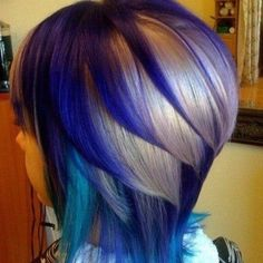 Check Out Our , Inspiration to Your Hair with Stunning Purple Hair Color 2018 and, Galaxy Hair too Cool Blue Purple and Green Dyed Hair, Blue Purple Hair Dye. Love Hair, Great Hair, Awesome Hair, Straight Ombre Hair, Straight Bob, Straight Lines, Hair For Round Face Shape, Short Hair Styles, Natural Hair Styles
