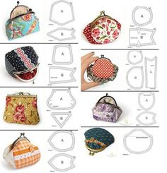 Interlining and patchwork: Purses Coin Purse Pattern, Coin Purse Tutorial, Wallet Pattern, Purse Patterns, Bag Quilt, Frame Purse, Embroidery Bags, Beaded Purses, Fabric Bags