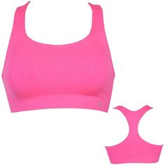 Champion Shiny Seamless Bra Hot Pink ❤ liked on Polyvore featuring activewear, sports bras, champion sportswear, hot pink sports bra, champion activewear, white sports bra and champion sports bras