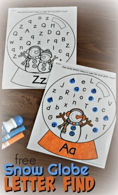 FREE Snow Globe Letter Find - these free printable alphabet worksheets help kids have fun making it snow as they practice identifying uppercase and lowercase with this winter themed alphabet worksheets #wintertheme #snowman #alphabetworksheets #letterfind #preschool #kindergaten #kindergartenworksheets #preschoolworksheets