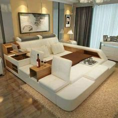 luxury bedroom furniture sets modern leather king size double bed ...