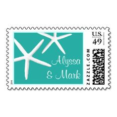 Lagoon Blue Personalized Starfish Wedding Stamps. This great stamp design is available for customization or ready to buy as is. Of course, it can be sent through standard U.S. Mail. Just click the image to make your own!