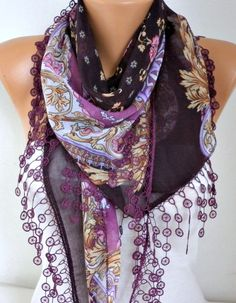 Damson Floral Scarf Fall Fashion Cotton Scarf Oversize by fatwoman
