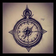 Black And Grey Compass Tattoo Design Sample