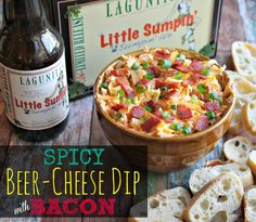 """Beer cheese and bacon are the perfect combination. // """"Spicy Beer-Cheese Dip with Bacon"""" 