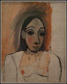 Bust of woman - Pablo Picasso - Cubism, Naive (African Period), 1907 Kunst Picasso, Art Picasso, Picasso Paintings, Henri Matisse, Henri Rousseau, Portraits Cubistes, Cubist Portraits, Georges Braque, Piet Mondrian