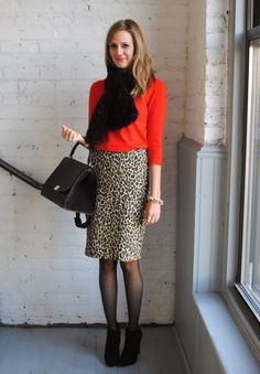 Red and black with a cute leopard pencil skirt