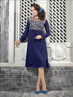 A scintillating plethora of timelsess master piece inspired by beauty. Beautiful  Navy Blue color kurti only at xeroshop.com
