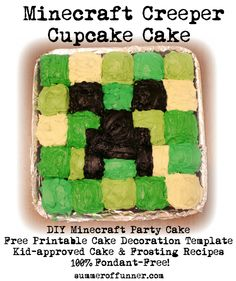 Minecraft Creeper Cupcake Cake with Printable Cake Decoration Template and Kid-Approved Cupcake and Frosting Recipes 100 Percent Fondant Fre...