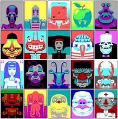 De serie Faces is typisch voor de Duitse artiest Sven Ruther (1980), die internationaal gewaardeerd wordt om zijn pixel art werken. Ruthner legt zichzelf b
