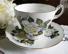 Vintage Regency White Rose and Forget-Me-Nots Teacup and Saucer