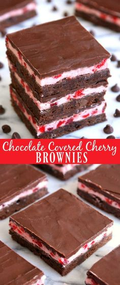 Chocolate Covered Cherry Brownies - Happy-Go-Lucky (Cherry Chocolate Cheesecake) Cherry Desserts, Just Desserts, Delicious Desserts, Dessert Recipes, Vegetarian Desserts, Cherry Recipes, Baking Desserts, Fun Recipes, Pastry Recipes
