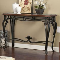 Metal Console Table Glass Wood Living Room Sofa Home Decor Furniture Curved Legs #CharltonHome #Transitional