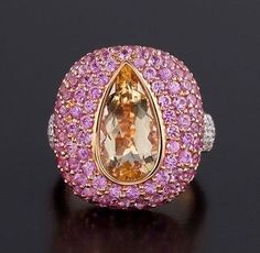 Imperial topaz pink sapphire diamond and pink gold ring