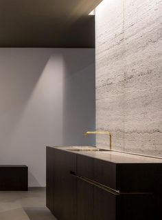 Kitchen by Wilfra at Interior 2014 Kortrijk Belgium - muzillac veine - travertin natural stone by Hullebusch