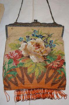 Antique Victorian Age Beige & Orange White Rose Floral Design Hand Beaded Purse with Fringe