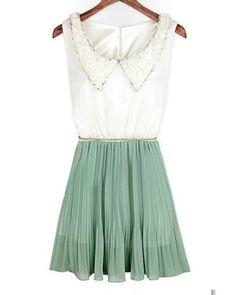 Light Green Sleeveless Sequined Doll Collar Fold Dress