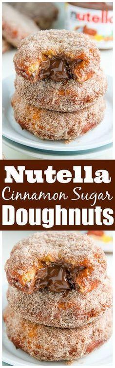 Homemade Cinnamon Sugar Doughnuts stuffed with a dollop of creamy Nutella.
