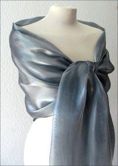 Etole- écharpe-foulard - Organza Gris /Argent - Cérémonie, mariage, cocktail... : Echarpe, foulard, cravate par el-tocado-de-lea