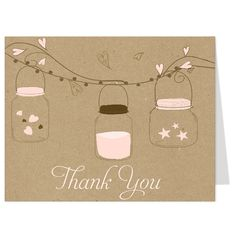 Thank guests for attending your bridal shower with this country wedding themed thank you card featuring three hanging mason jars on a burlap background. White envelopes included.