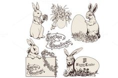 Check out Easter Bunnies, Doodle Clipart by Digital art shop on Creative Market