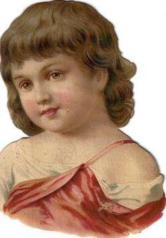 Victorian Scrap Brown Eyed Girl in Pink Die Cut c1880