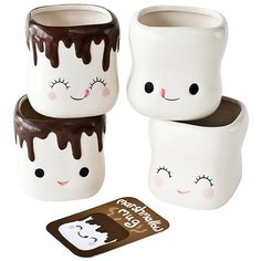 Pretty sure the faces can be re-created with Sharpies...but they're too stink'n cute!! Marshmallow Mugs...