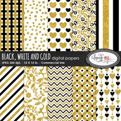 Black white and gold digital papers pack comes with ten super trendy digital scrapbook papers in black, white and realistic gold glitter details. We included the following patterns, chevron, diagonal line, vertical line, lattice, spot or dalmatian, heart patterns, animal print, lattice, circles and floral patterns.