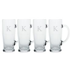 Cathy's Concepts Personalized Monogram Craft Beer Mug Set of 4 - A-Z, Clear