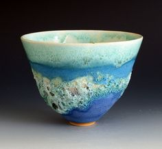 thrown stoneware with crater/lava glazes and turquoise barium glaze: Summer collection