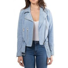 Women's Bagatelle.nyc Suede Jacket (10.680 RUB) ❤ liked on Polyvore featuring outerwear, jackets, dusty blue, blue suede jacket, blue cropped jacket, blue jackets, blue biker jacket and cropped jacket